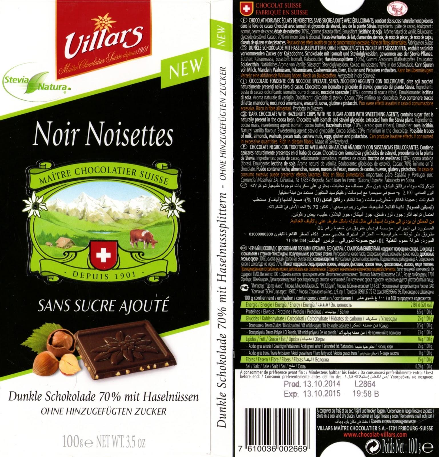 tablette de chocolat noir gourmand villars noir noisettes sans sucre ajouté stevia
