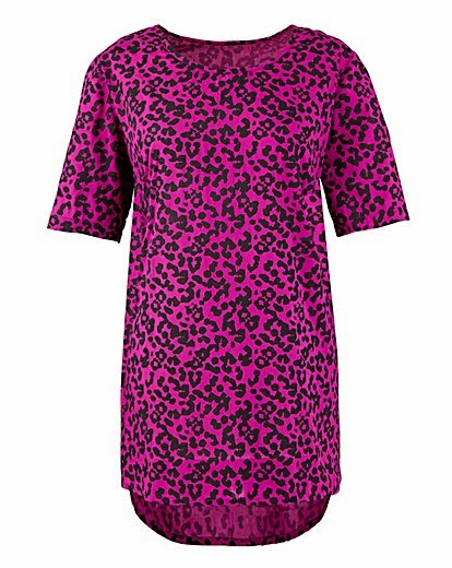 Simply Be animal print dipped hem top