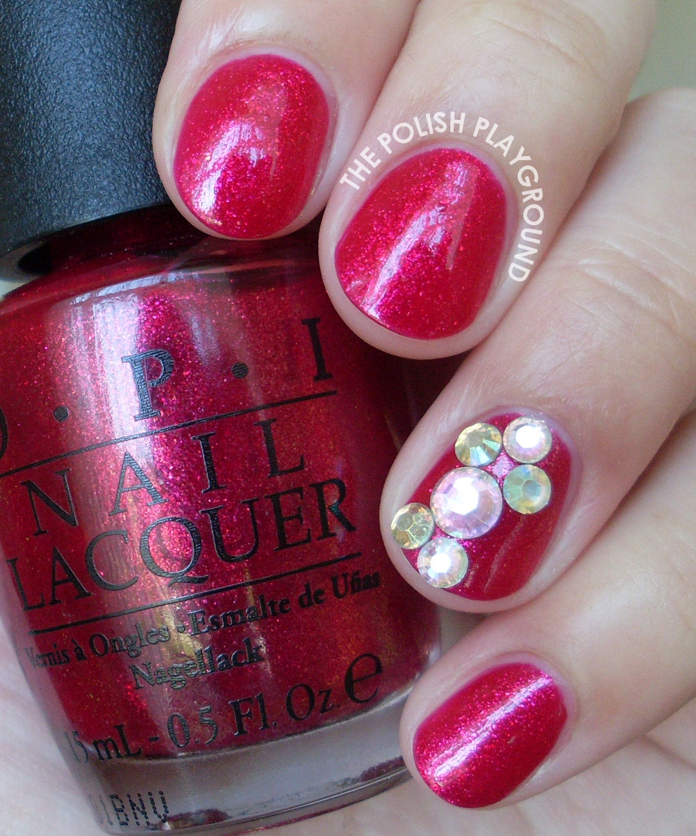 Precious Rubies with Rhinestone Accent Nail Art