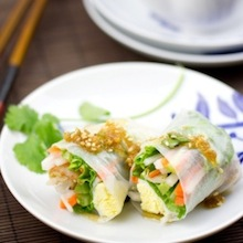 how to make spring rolls with sesame ponzu vinaigrette?