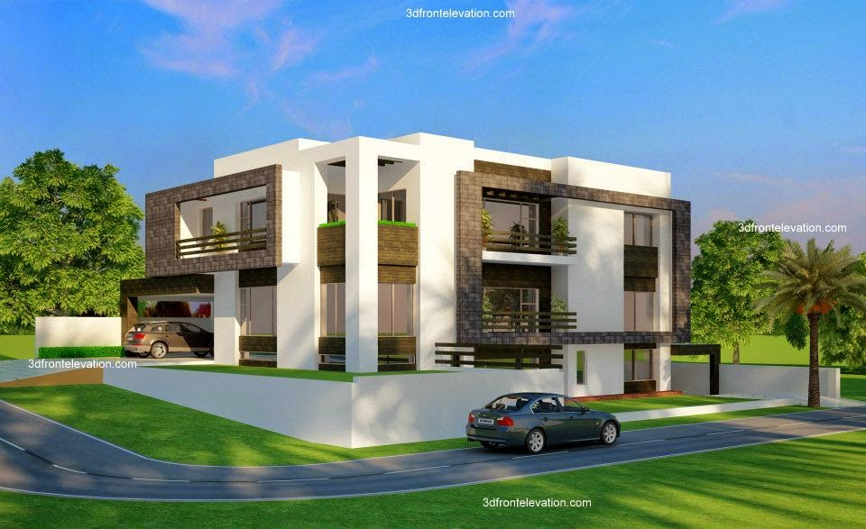 3d front 2 kanal corner plot beautiful for Modern house designs 3d