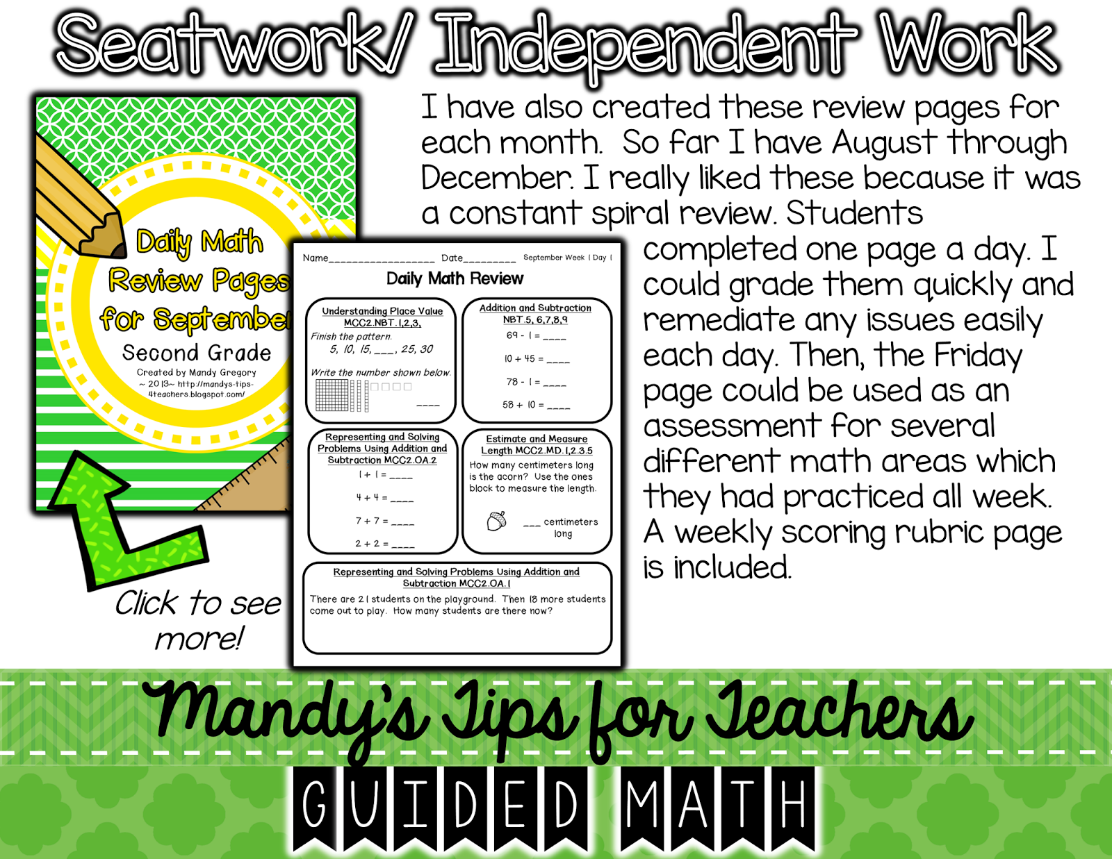 http://www.teacherspayteachers.com/Product/Daily-Math-Review-Pages-for-September-834426