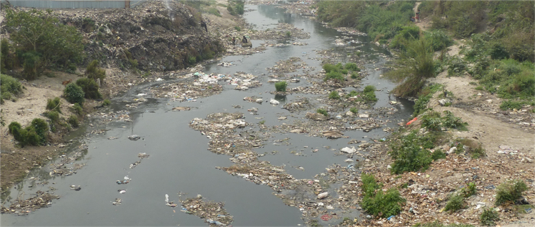 (picture of the polluted bagmati river)