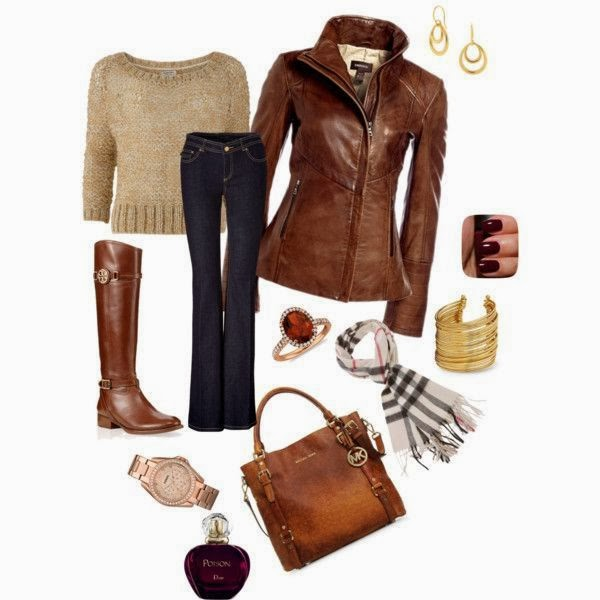Adorable Fall and Winter Outfit of Brown Jacket, Sweater, Jeans, Long Boots, Scarf and Hand bag