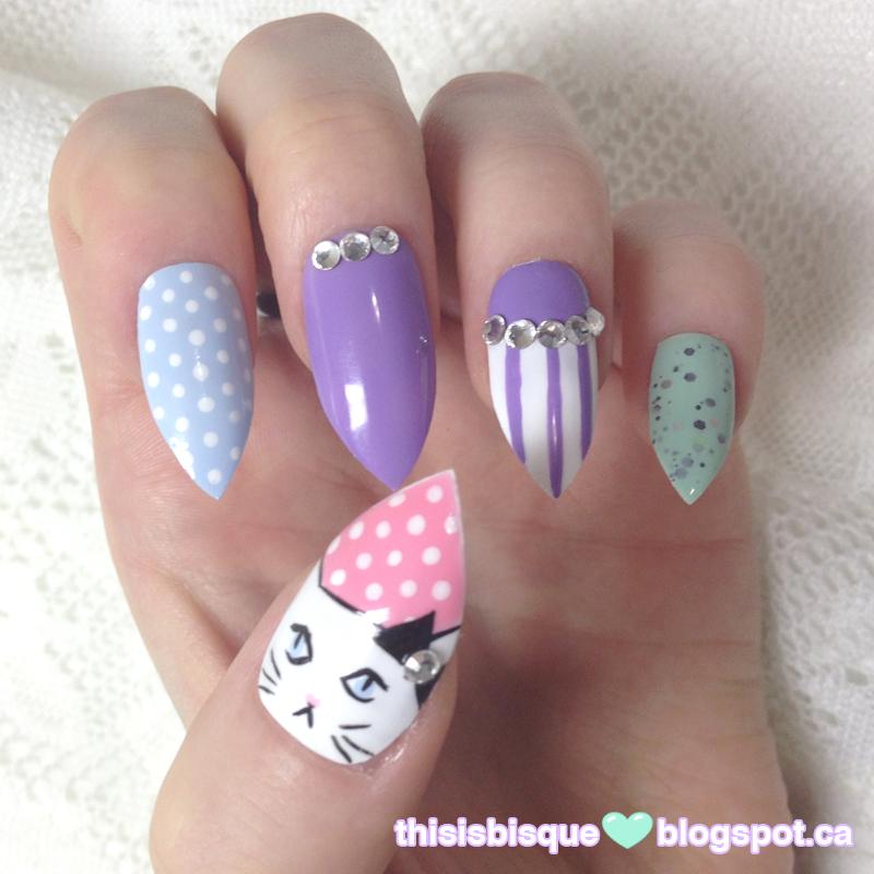 Nail Inspiration | Cats, Pastels, Polka Dots, Oh My!