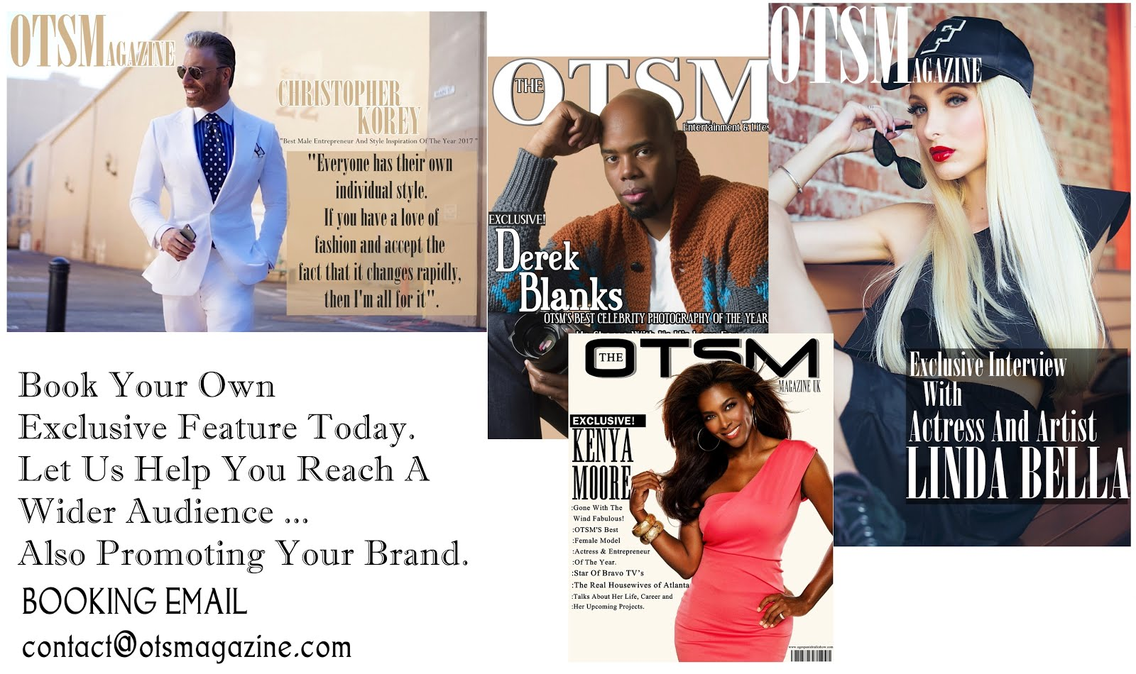 Book A Feature With OTSMAGAZINE TODAY