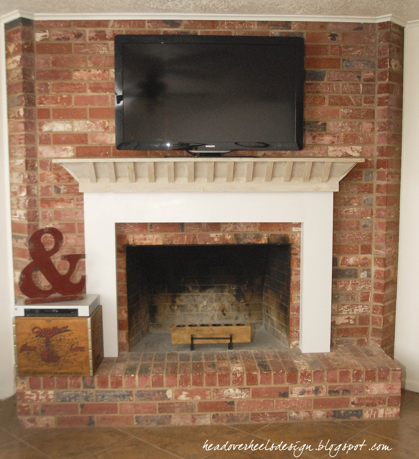 Head Over Heels: TV on a Brick Fireplace: A Whitewashed Mantle