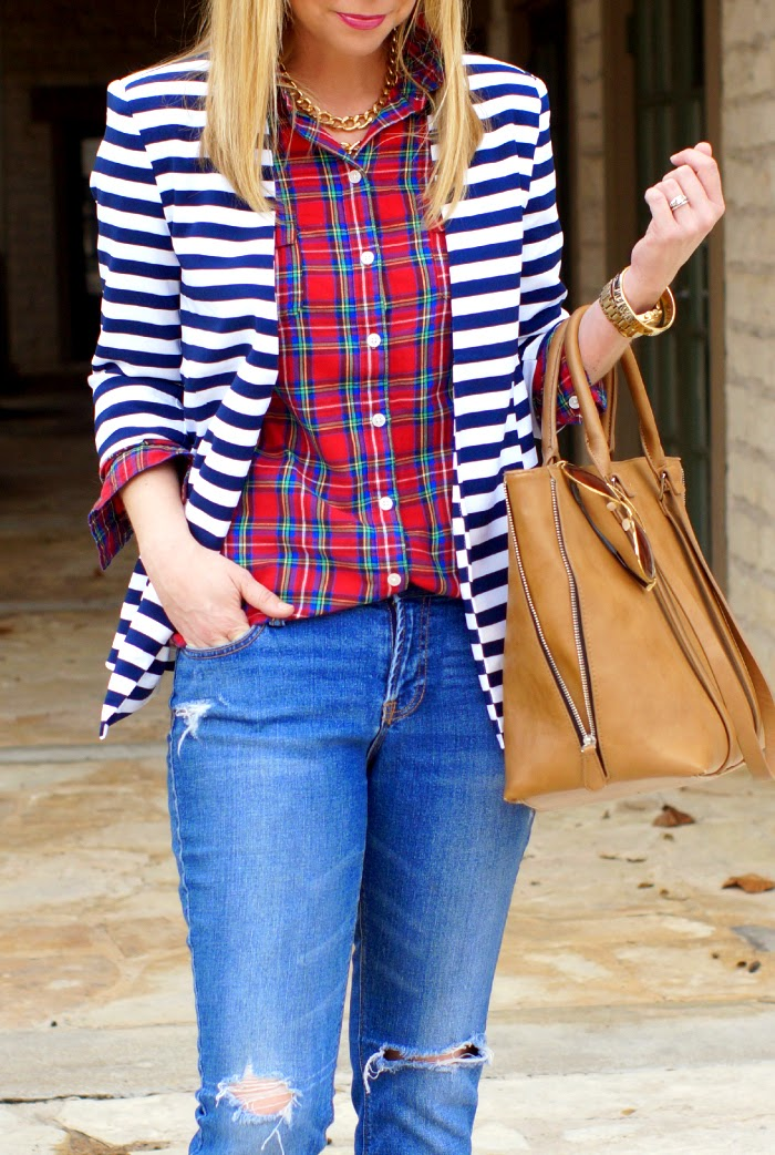 ways to mix stripes and plaid outfit idea