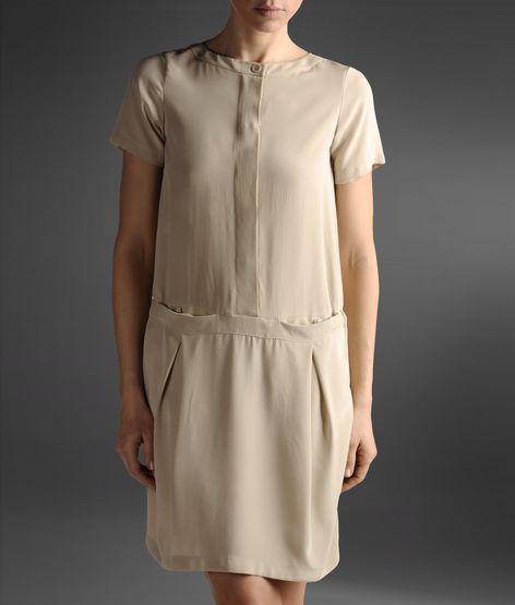 bej günlük kısa elbise
