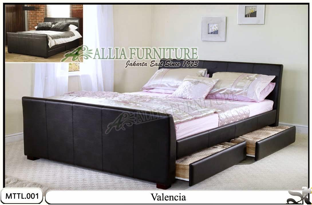Tempat tidur minimalis laci kulit model valencia
