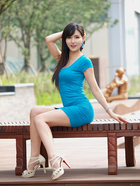 4 Cha Sun Hwa in Blue Mini Dress-Very cute asian girl - girlcute4u.blogspot.com