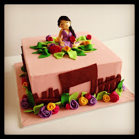 Basic 102 : Square cake with fairy figurin in the garden
