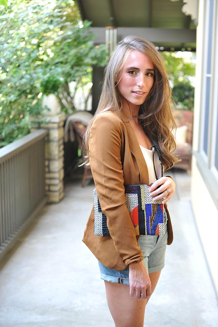 Camel H&M Blazer with Geometric Anthropologie Clutch Style Look