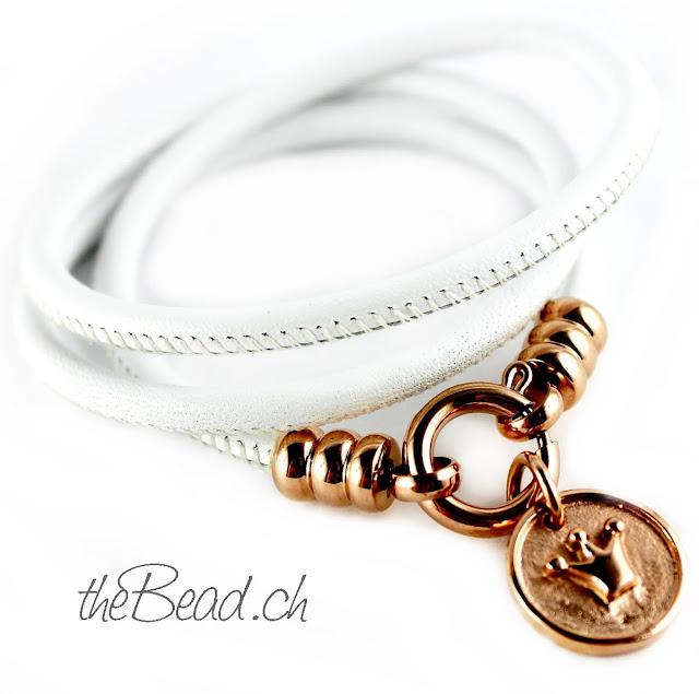Schöne Geschenkidee Armband mit Kronen Anhänger mit rose gold vergoldet