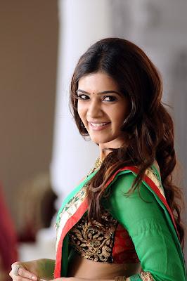 sparkling and blooming Samantha in green half saree