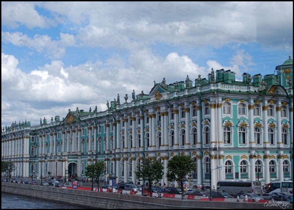 Exterior view of front of Hermitage, St. Petersburg, Russia
