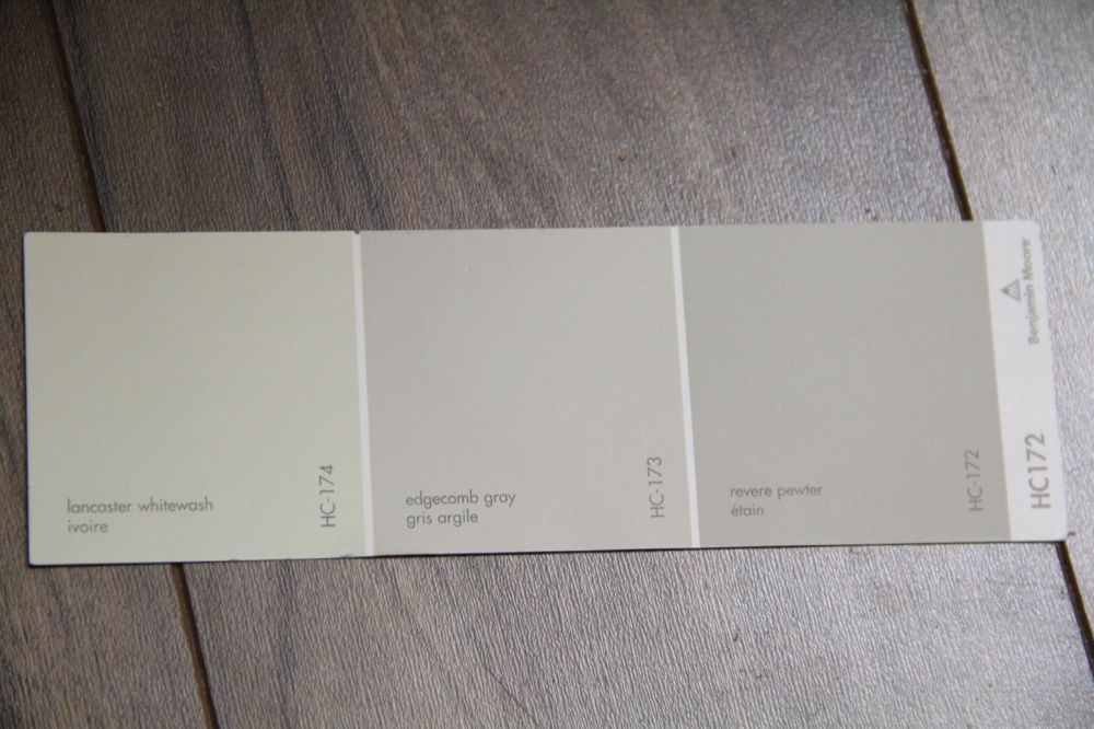 From left to right Lancaster Whitewash, Edgecomb Gray, Revere Pewter