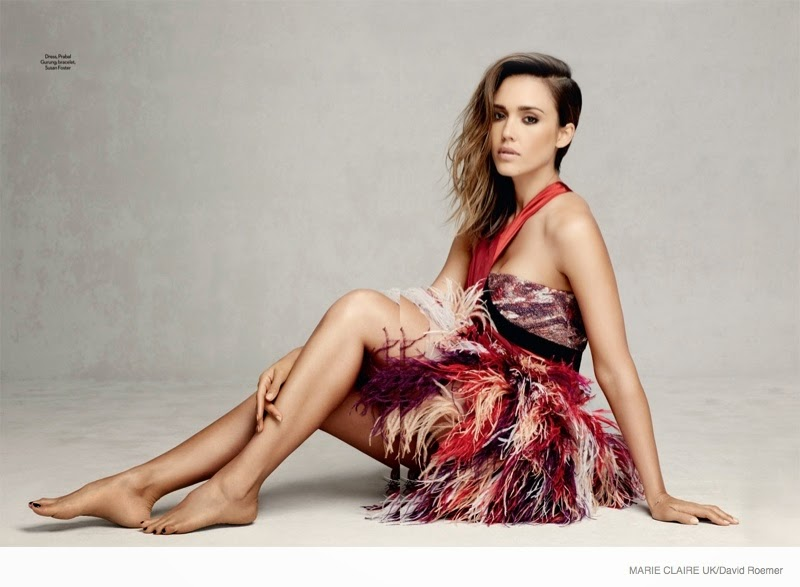 Jessica Alba models pretty Fall styles for Marie Claire UK September 2014