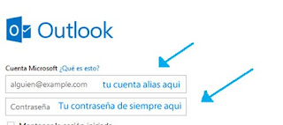 iniciar sesion con alias outlook