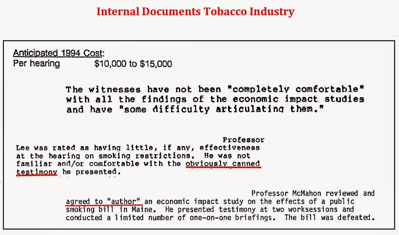 Tobacco Robert D. Tollison economists testimonials