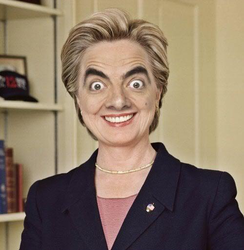 mr. bean as Hillary Clinton