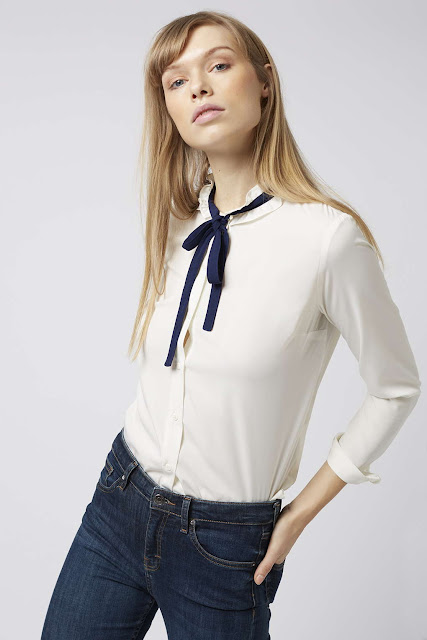 black tie frilly neck blouse, black bow white shirt,
