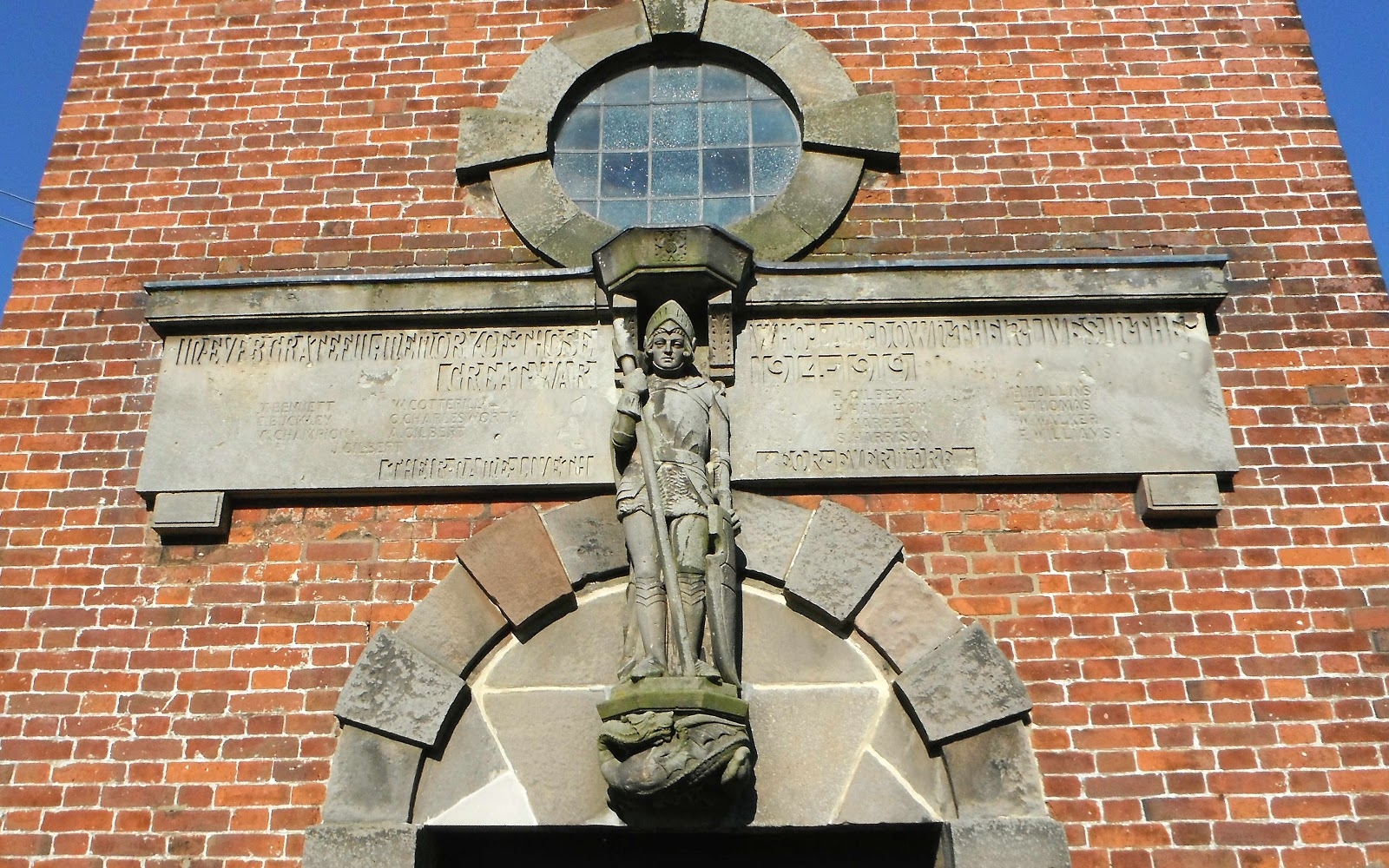 Saint Michael figure at Marchington Church