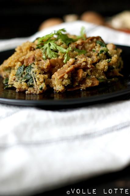 Quinoa, Champignons, Kräuterseitling, Enokipilze, gesund, vegan, vegetarisch, kochen