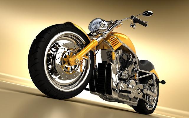 Motocicleta Amarilla Harley Davidson