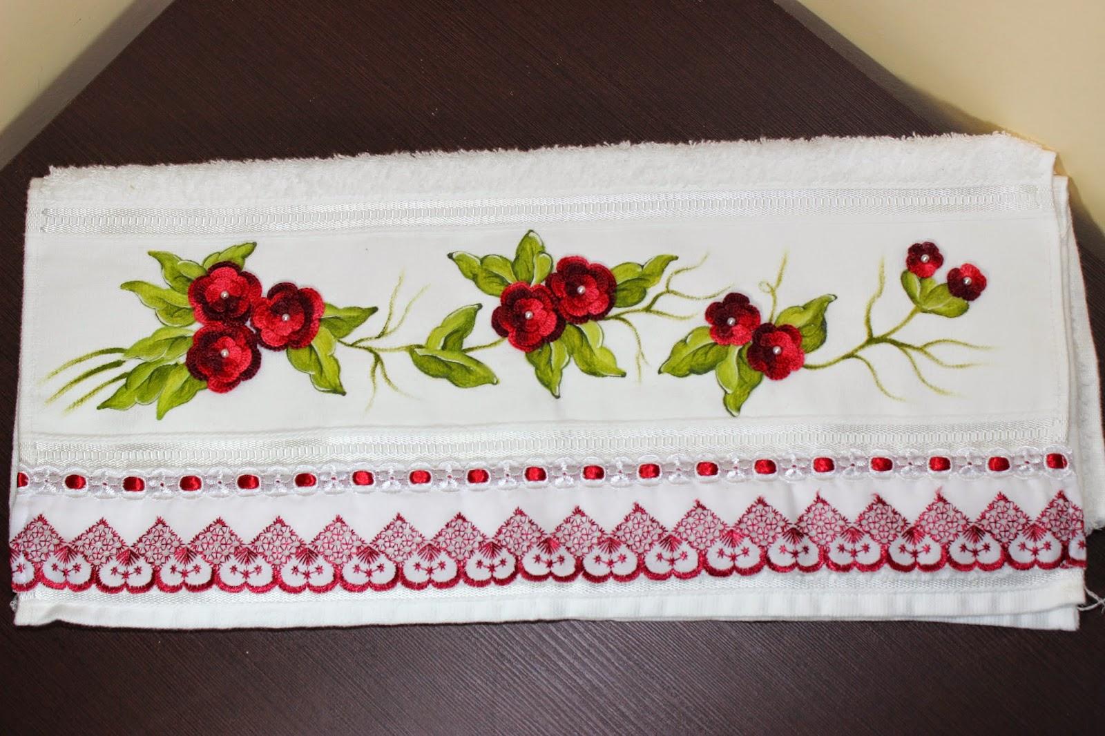 Qual O Correto Artesanato Ou Artesanato ~ Artesanato em geral Toalha com flores em croch u00ea
