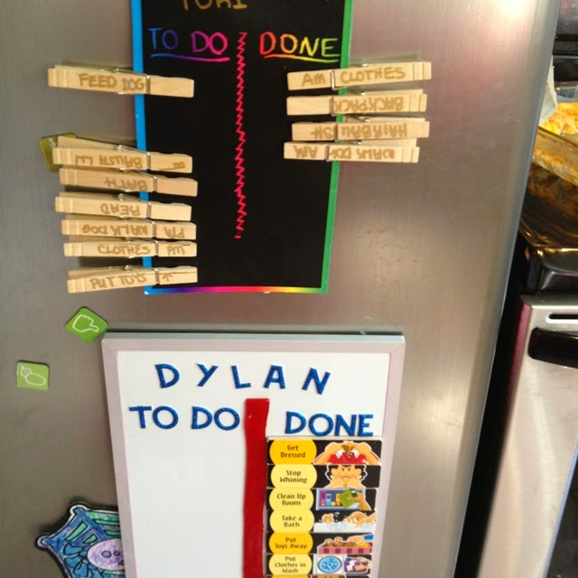 11 Ways to Organize with Clothespins - Clothespin Chore Chart Organizer:: OrganizingMadeFun.com