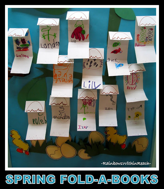 "photo of: Spring 'Fold-a-Books"" Displayed on the Classroom Door via RainbowsWithinReach"