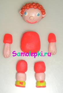 схема лепки футболист из пластилина