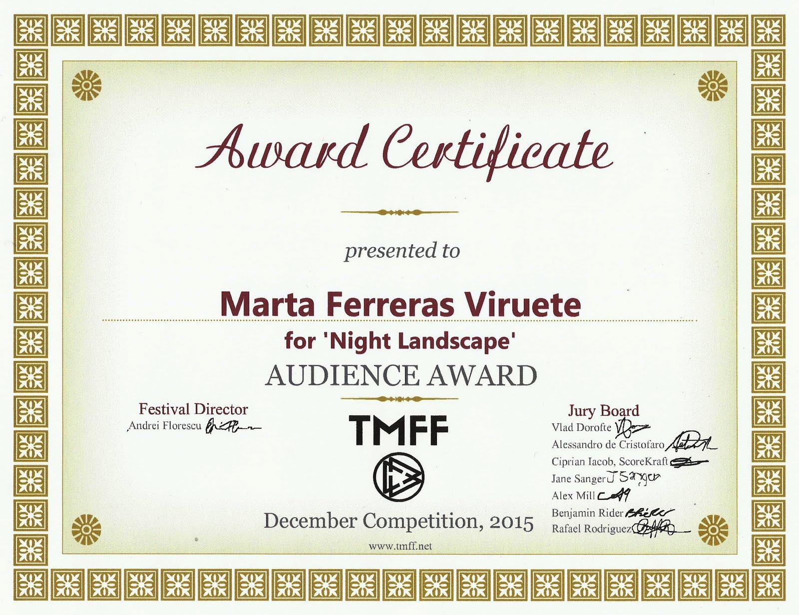 PAISAJE NOCTURNO, Premio del Público.