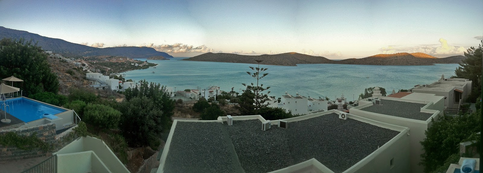 View of Elounda Bay in Crete Greece