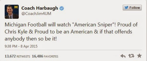 https://twitter.com/CoachJim4UM?original_referer=http%3A%2F%2Fwww.theblaze.com%2Fstories%2F2015%2F04%2F08%2Fafter-university-canceled-american-sniper-showing-football-coach-harbaugh-made-this-announcement%2F&tw_i=585980002648199168&tw_p=tweetembed