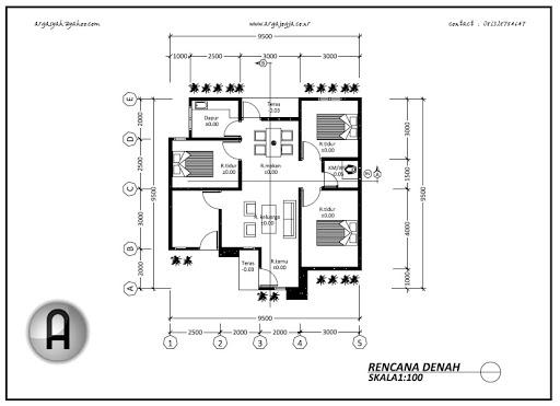 gambar sketsa denah rumah sederhana 1 lantai 4 kamar tidur