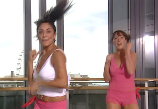 Natalie Cassidy and Dee Thresher do some boxing-style exercises