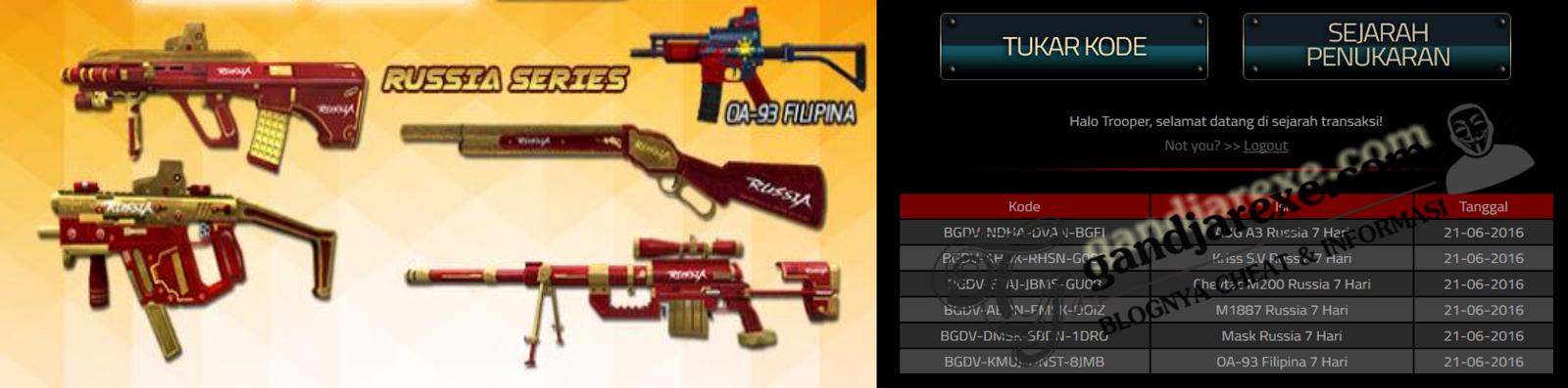 Redeem Code PB Garena Weapon Russia Series Juni 2016 !