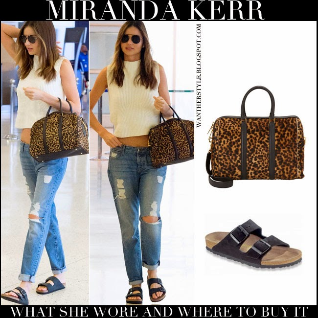 f7550244984 WHAT SHE WORE  Miranda Kerr with leopard print bag distressed ...