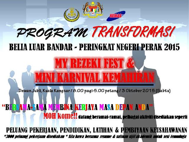 Karnival kerjaya, My Rezeki Fest,Mini Karnival Kemahiran, Kuala Kangsar