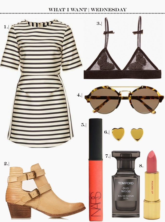 Topshop Stripe Dress- Forever 21 Boots- For Love and Lemon Bra- Nars Lipgloss- Kate Spade Heart Earrings- Kate Spade Lipgloss-Tom Ford Pergume