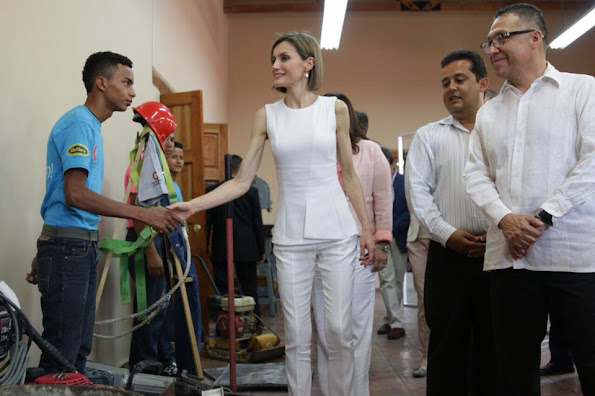Queen Letizia of Spain with Honduran First Lady Ana de Hernandez visited the cathedral in Comayagua, 80 km north of Tegucigalpa
