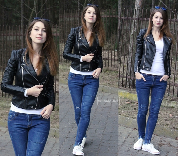 biker jacket, jeans and white t-shirt - casual, minimalistic look