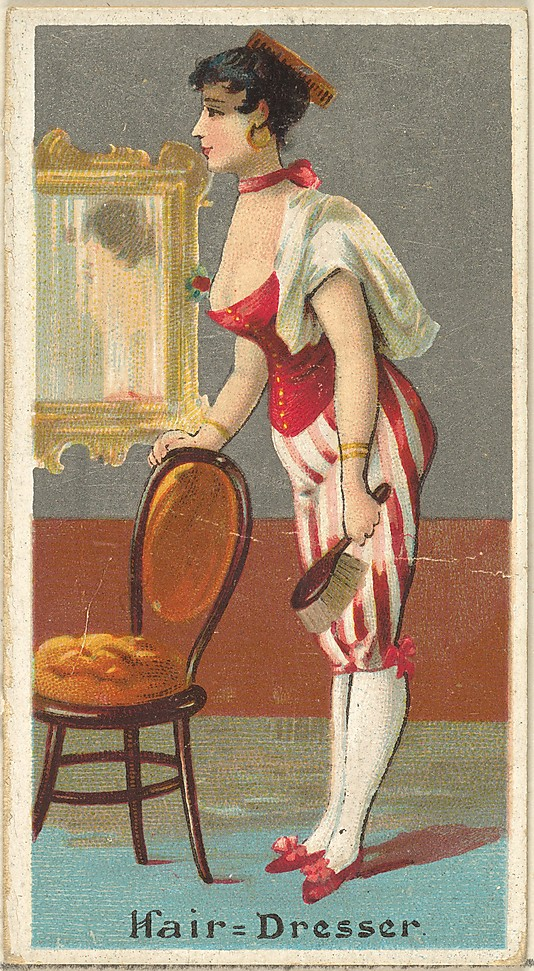 "Hairdresser. Vintage tobacco card ""Occupations For Women"", via ellomennopee"