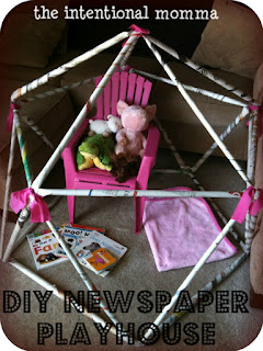 newspaper craft project idea for toddler preschool kids playhouse tent