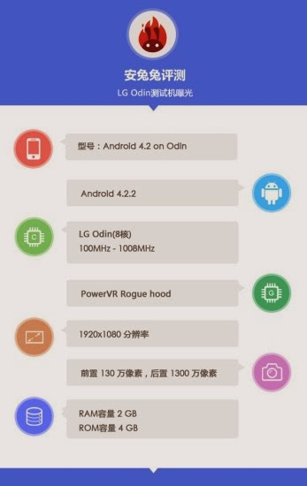 Svelato un nuovo smartphone android Lg Odin Octa Core tramite benchmark AnTuTu