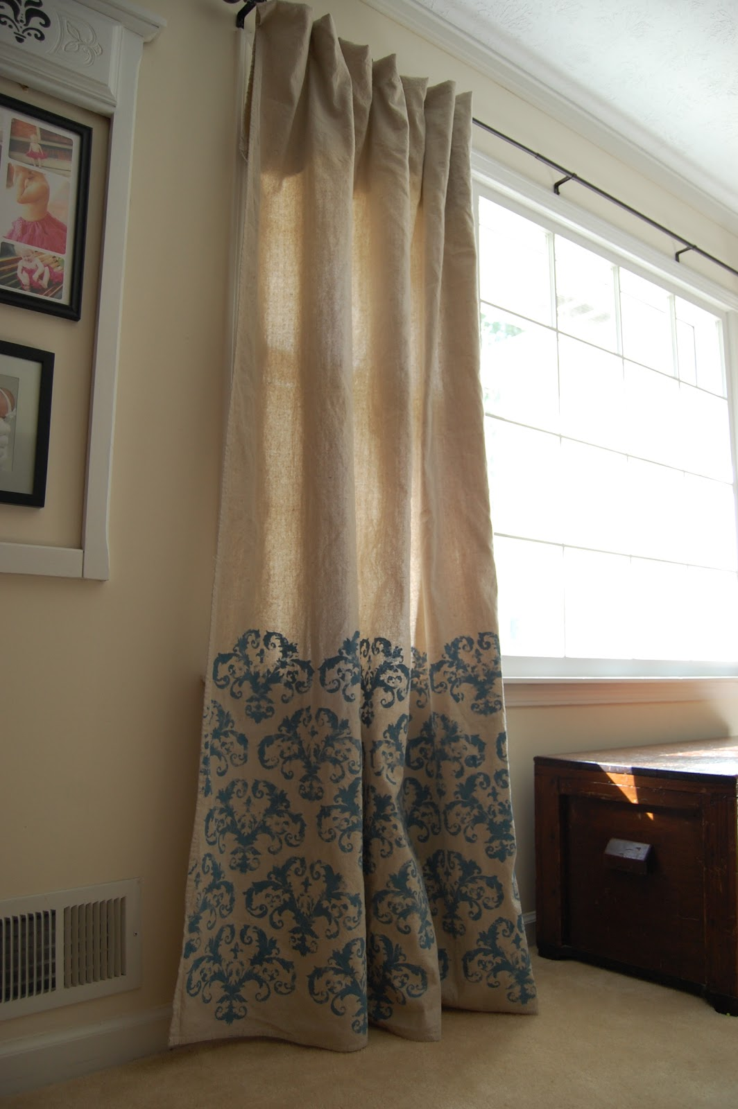 Drop Cloth Curtains Tutorial Creative Outlets Of A Thrifty Minded Momma Stenciled Drop Cloth