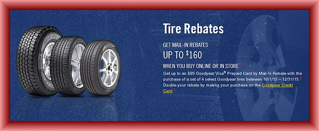 Goodyear Tire Rebate and Coupons for November 2017