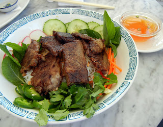 Crispy Braised Short Ribs over Rice Vermicelli  at the Elizabeth St. Cafe